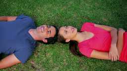 Smiling couple lying on the grass Footage