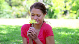 Happy brunette woman smelling a yellow flower Stock Video Footage