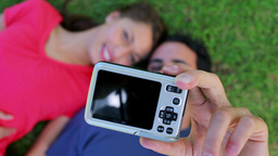 Lovely couple photographing themselves Stock Video Footage