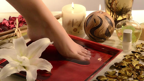 Aromatic Relaxing Foot Bath stock footage