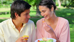 Smiling woman feeding her boyfriend during a picni Footage