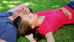 Peaceful couple lying on the grass while napping Stock Video Footage