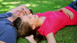 Peaceful couple lying on the grass while napping Footage