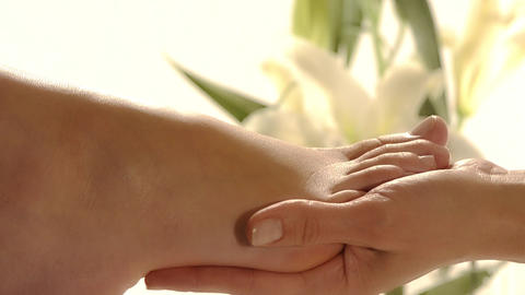 close up of a foot massage Stock Video Footage