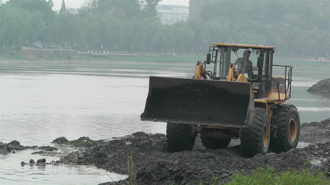Riverbank Construction Sichuan China 8 machine Footage