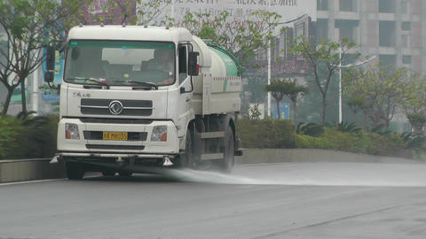 Road Cleaner Truck Sichuan China 1 handheld Stock Video Footage