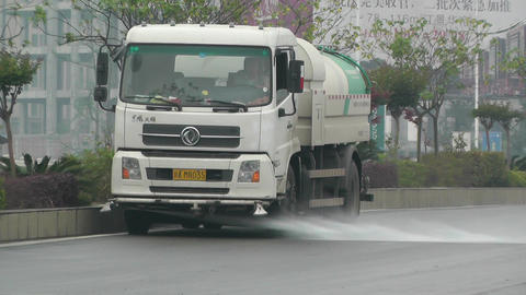 Road Cleaner Truck Sichuan China 1 handheld Footage