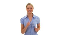 Happy blonde woman jogging Footage