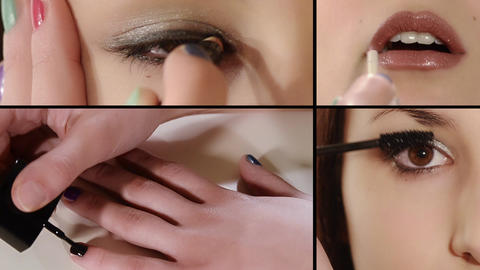 Girl, Make Up Montage stock footage