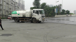 Road Cleaner Truck Sichuan China 4 handheld Stock Video Footage