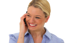 Blonde woman using her mobile phone Footage