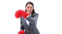 Smiling brunette boxing Stock Video Footage