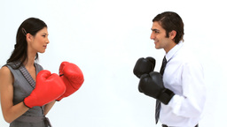 Business people playing with boxing gloves Footage