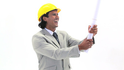 Happy man holding blueprints Stock Video Footage