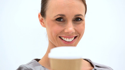 Woman holding a cup of coffee Stock Video Footage