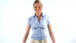 Smiling blonde woman jumping Footage