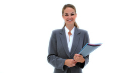 Happy woman holding files Footage