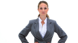 Happy Woman Placing Her Hands On Her Hips stock footage