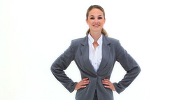 Blonde businesswoman with her hands on hips Footage