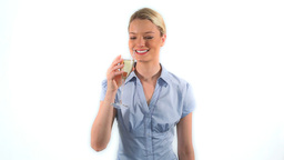 Blonde woman drinking champagne Stock Video Footage