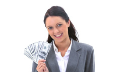 Businesswoman holding American banknotes is smiling Footage