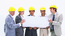 Business team wearing safety helmet Footage