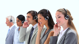 Standing business people speaking into headset Footage