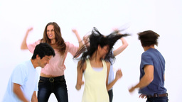 Happy young people dancing Stock Video Footage