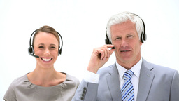 Business people talking into headset Footage