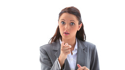 Angry businesswoman gesturing Footage