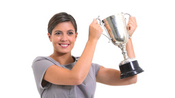 Woman Holding A Trophy stock footage