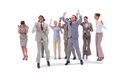 Group of business people jumping with money fallin Stock Video Footage