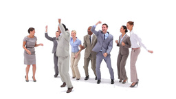 Group of business people jumping with money fallin Footage