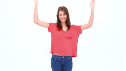 Brunette haired woman moving her arms Footage