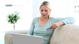 Woman shopping online Footage