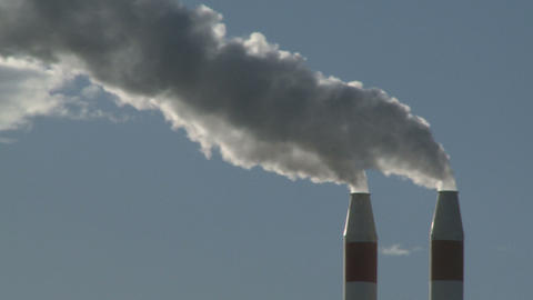 industrial chimney and smoke Stock Video Footage