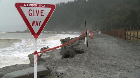 narrow road erosion Stock Video Footage