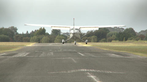 small plane lands Stock Video Footage