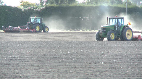 tractors cultivating Stock Video Footage