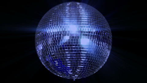 blue loop disco mirror ball series center wide Stock Video Footage