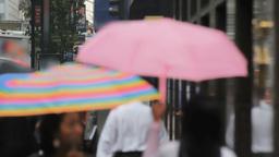Pedestrians With Umbrellas, New York Street Stock Video Footage