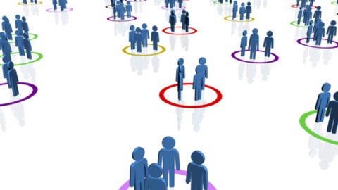 Groups of blue people in multi-coloured circles Animation