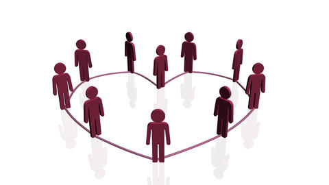 Line of people forming heart shape Stock Video Footage
