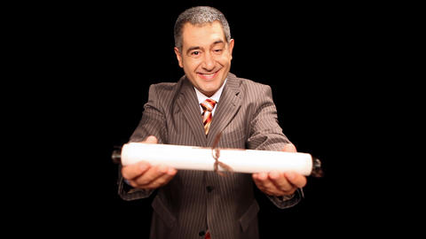Businessman holding diploma Stock Video Footage