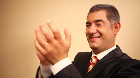 Businessman clapping hands Stock Video Footage