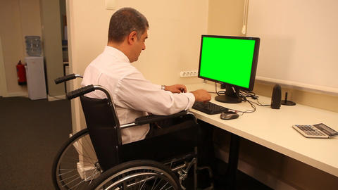 Businessman with wheelchair Stock Video Footage