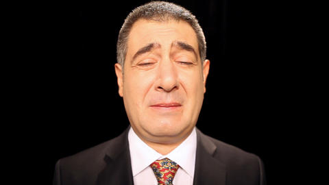 Sad businessman crying, emotion, sadness Stock Video Footage