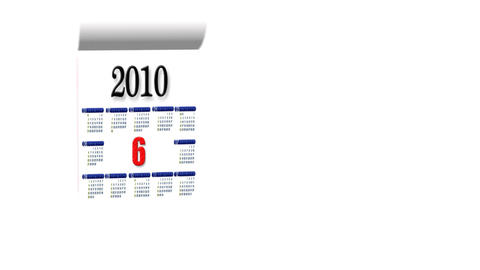 Loopable New Year 2010-2011 calendar on white background Stock Video Footage