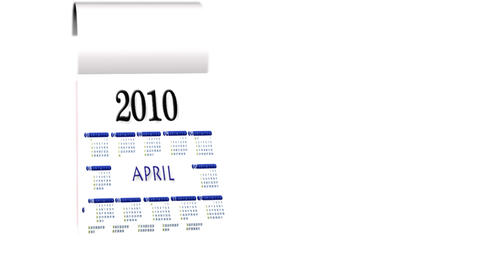 Loopable New Year 2010-2011 calendar on white background Animation