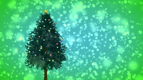 Spinning Christmas tree on green snowy background Animation